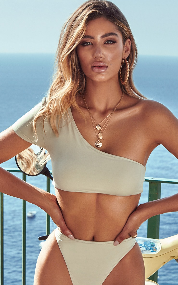 Sage Green One Shoulder Sleeve Bikini Top 1