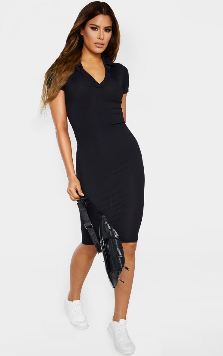 Tall Black Ribbed Polo Midi Dress 4