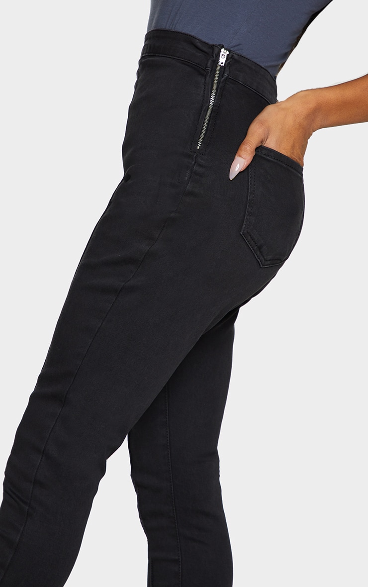 Shape Black Seam Detail Zip Side High Waist Skinny Jeans 4