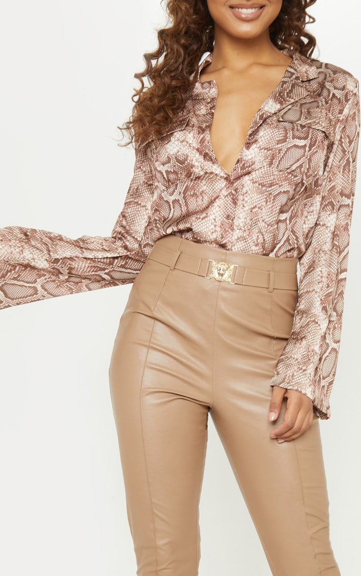 Tall Brown Satin Snake Print Pocket Detail Shirt 5