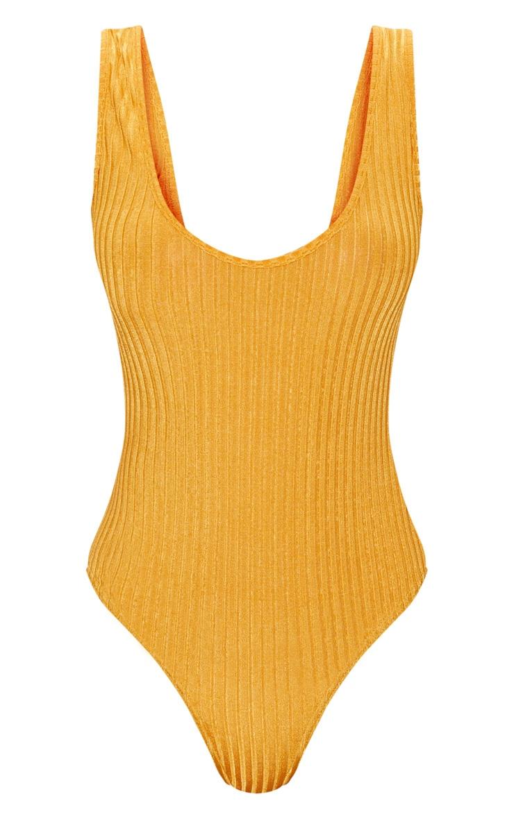 Yellow Rib Scoop Back Thong Bodysuit 3