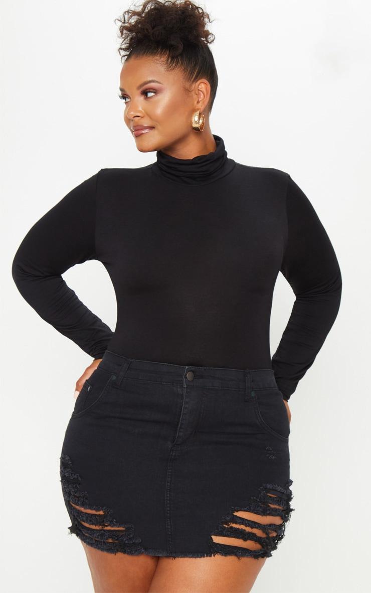 Plus Black Super Shred Denim Mini Skirt 1