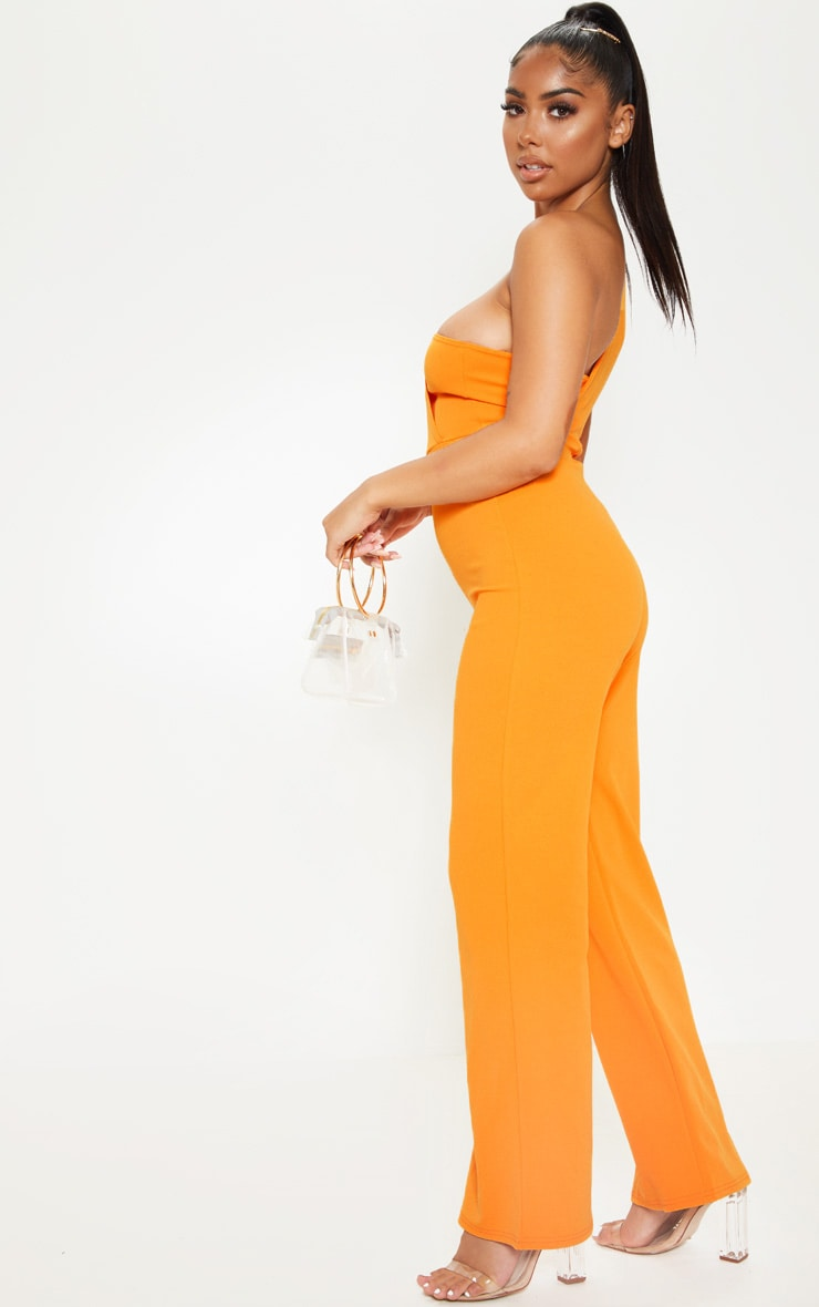 Petite Orange Drape One Shoulder Jumpsuit 4