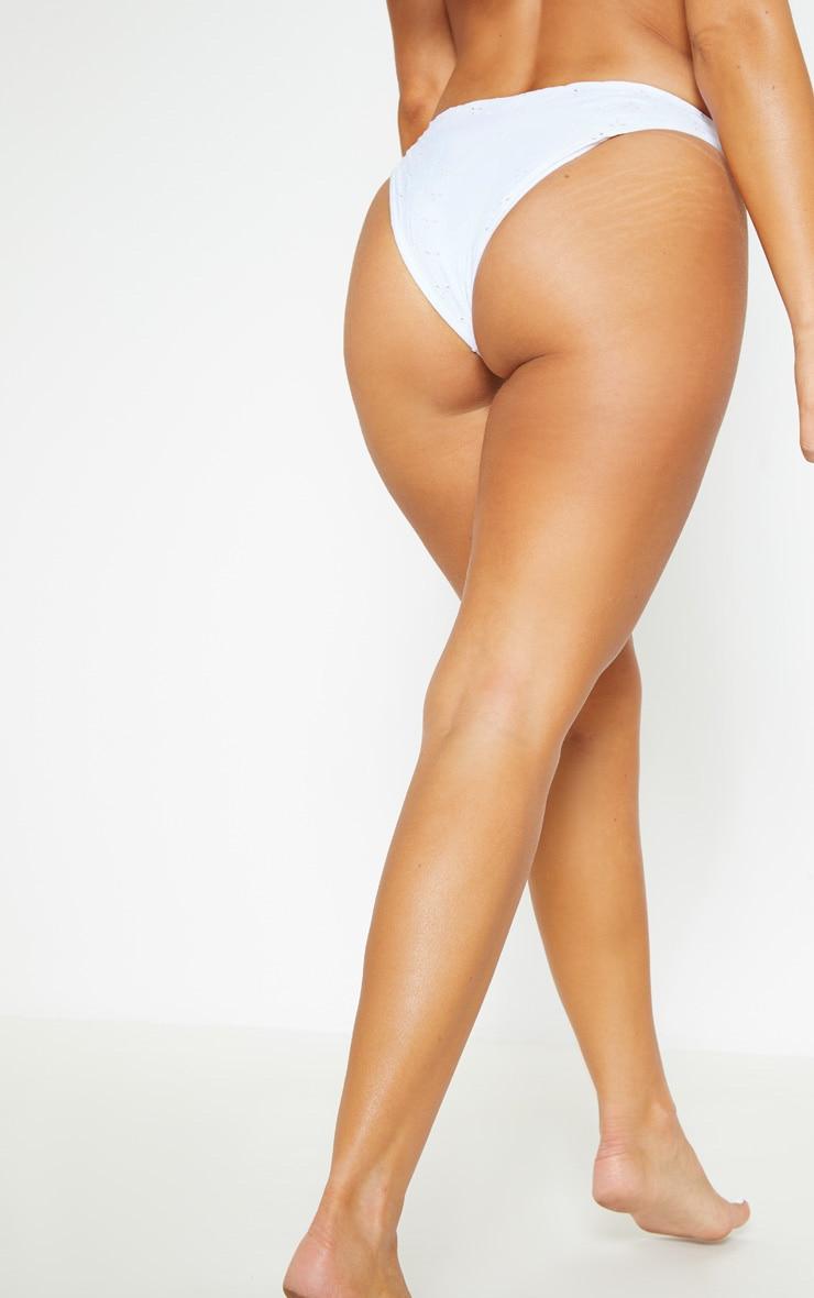 White Broderie Mini Front Bikini Bottom 4