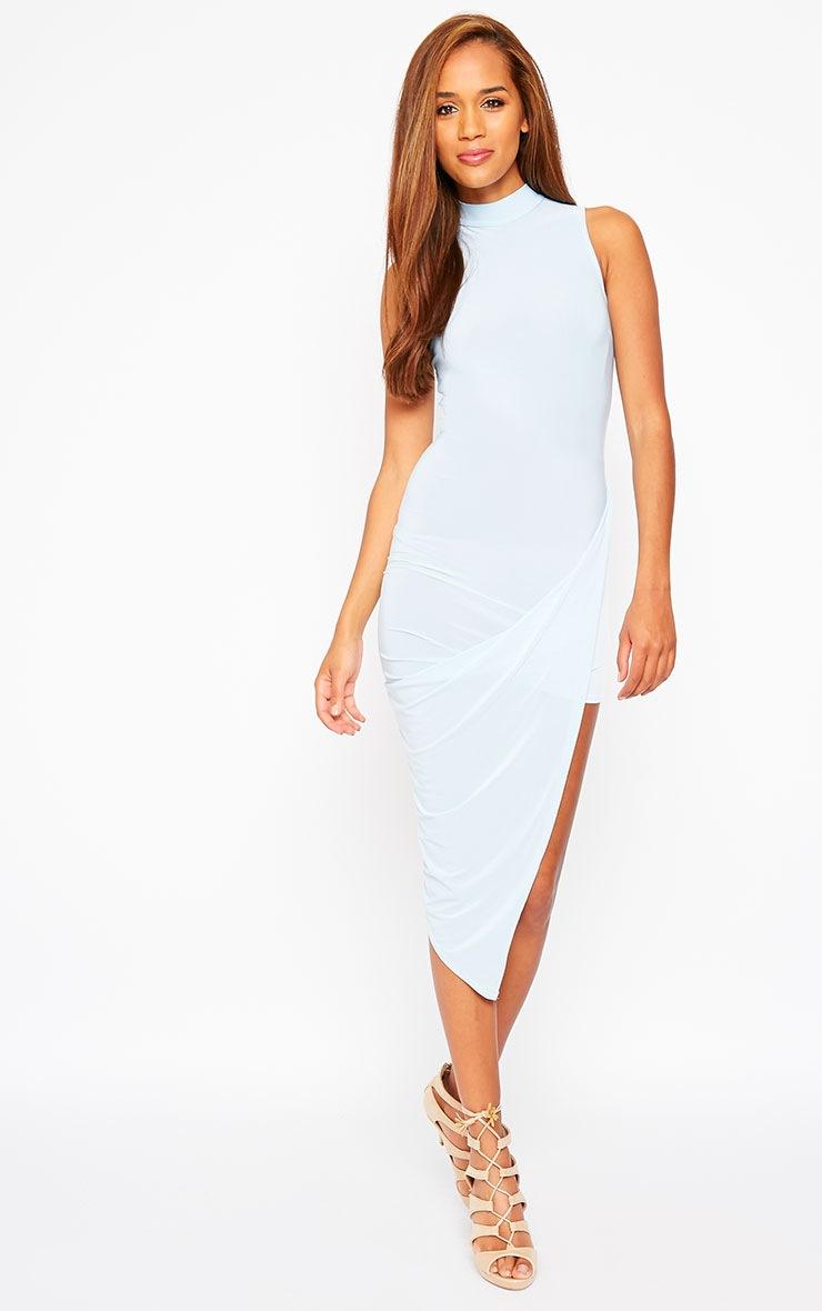 Prim Blue Slinky Drape Asymmetric Dress 4