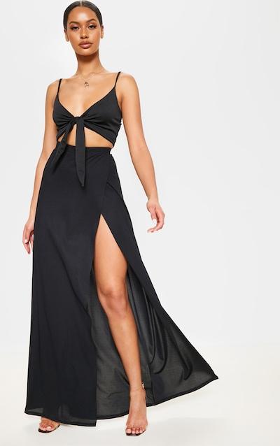 468a29537b1f7 Black High Waisted Split Detail Maxi Skirt