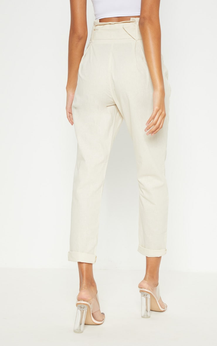 Cream Belted Paperbag Tapered Trouser 4