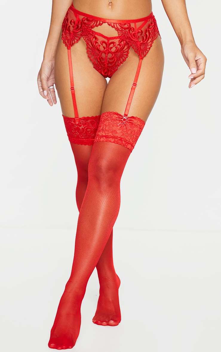 Red Embroidered Lace Suspender Belt 2