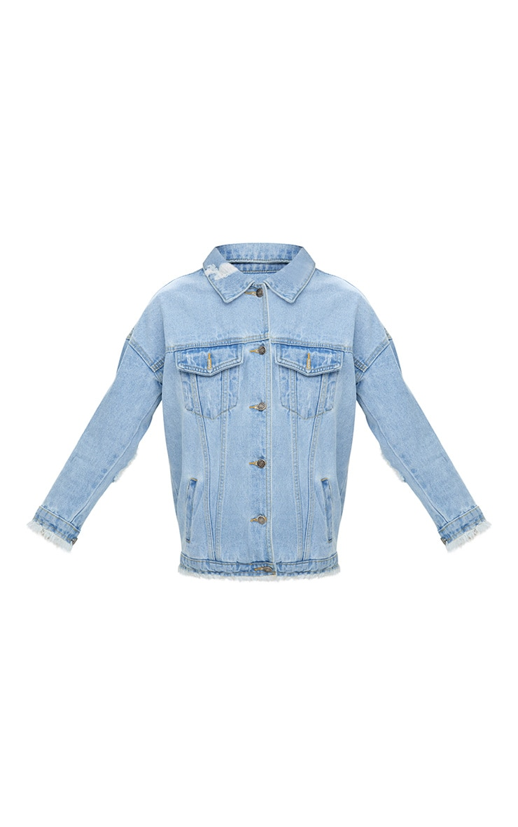 Aymeline Light Wash Distressed Oversized Denim Jacket 3