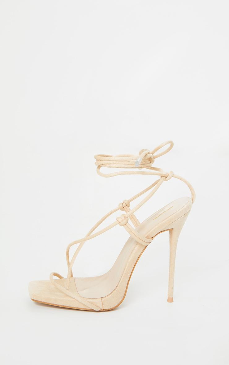 Nude Square Toe Stiletto Heel Strappy Sandal 3