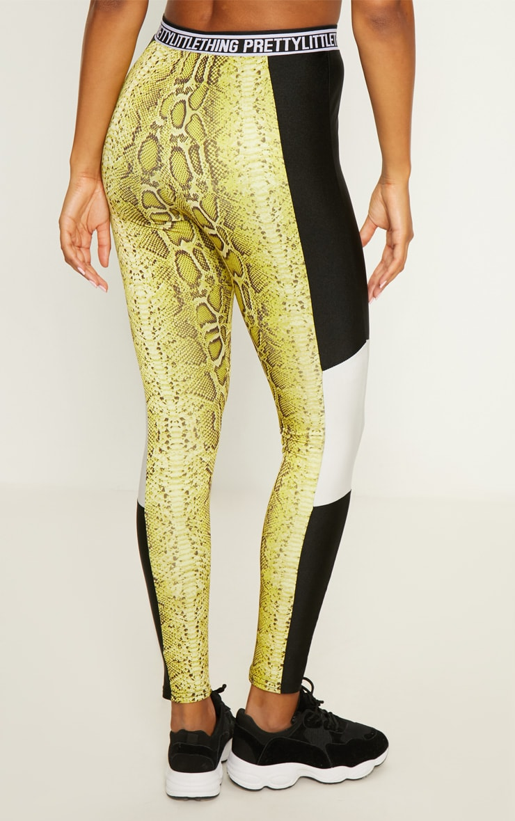 PRETTYLITTLETHING Lime Snake Leggings 4