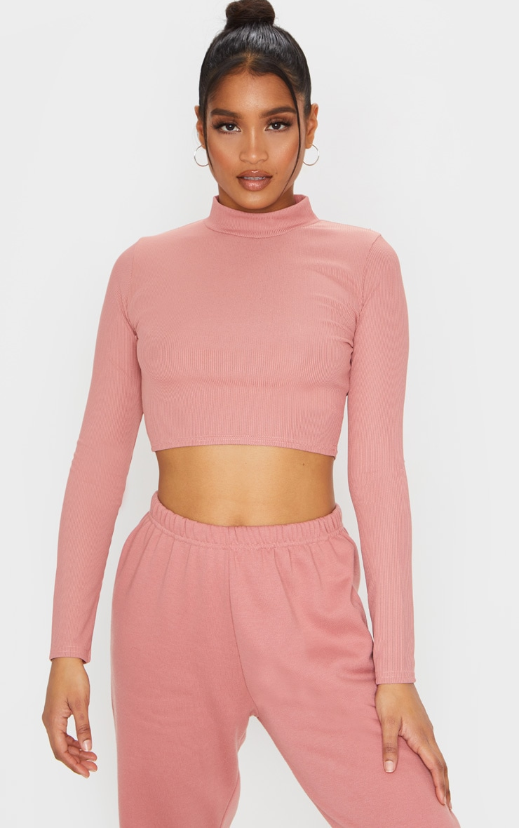 Dusty Pink High Neck Ribbed Long Sleeve Crop Top 1