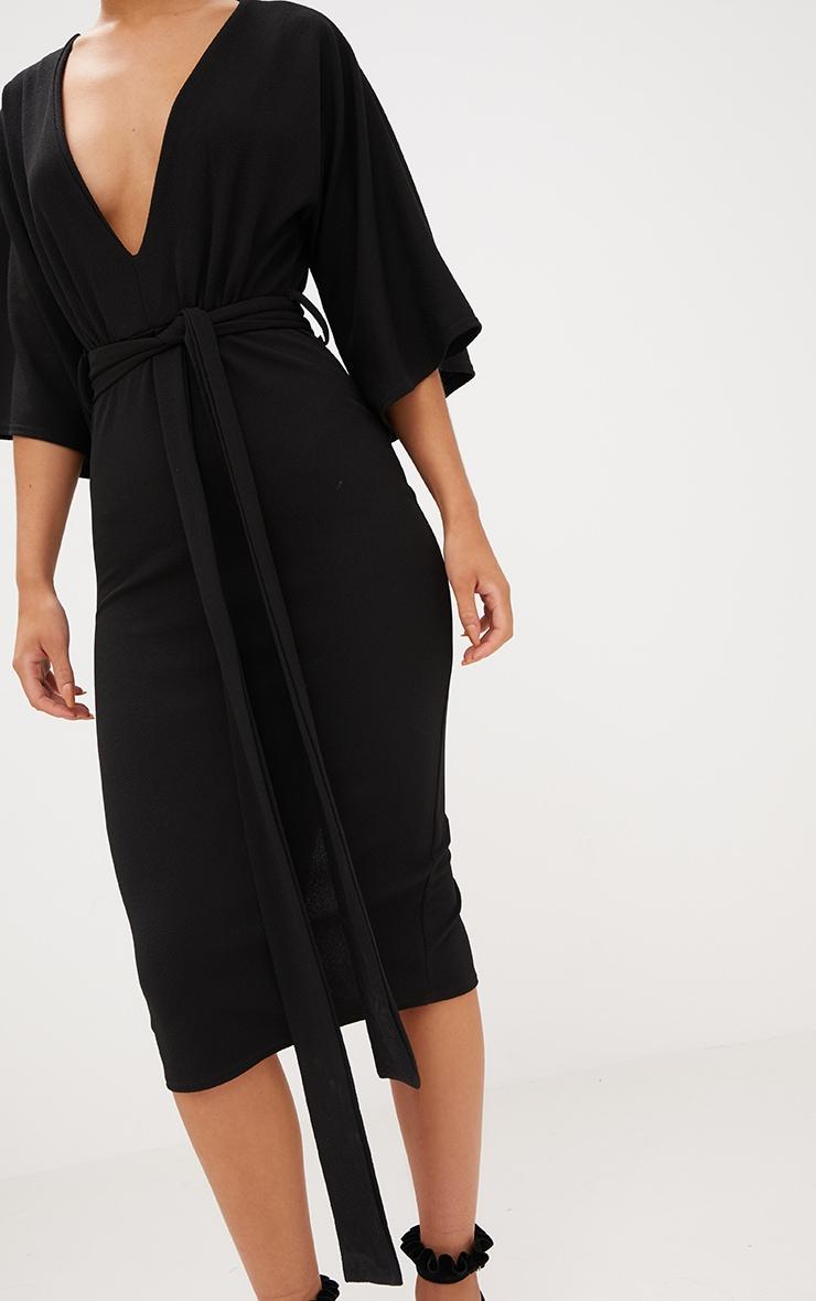 Black Kimono Sleeve Tie Waist Midi Dress 5