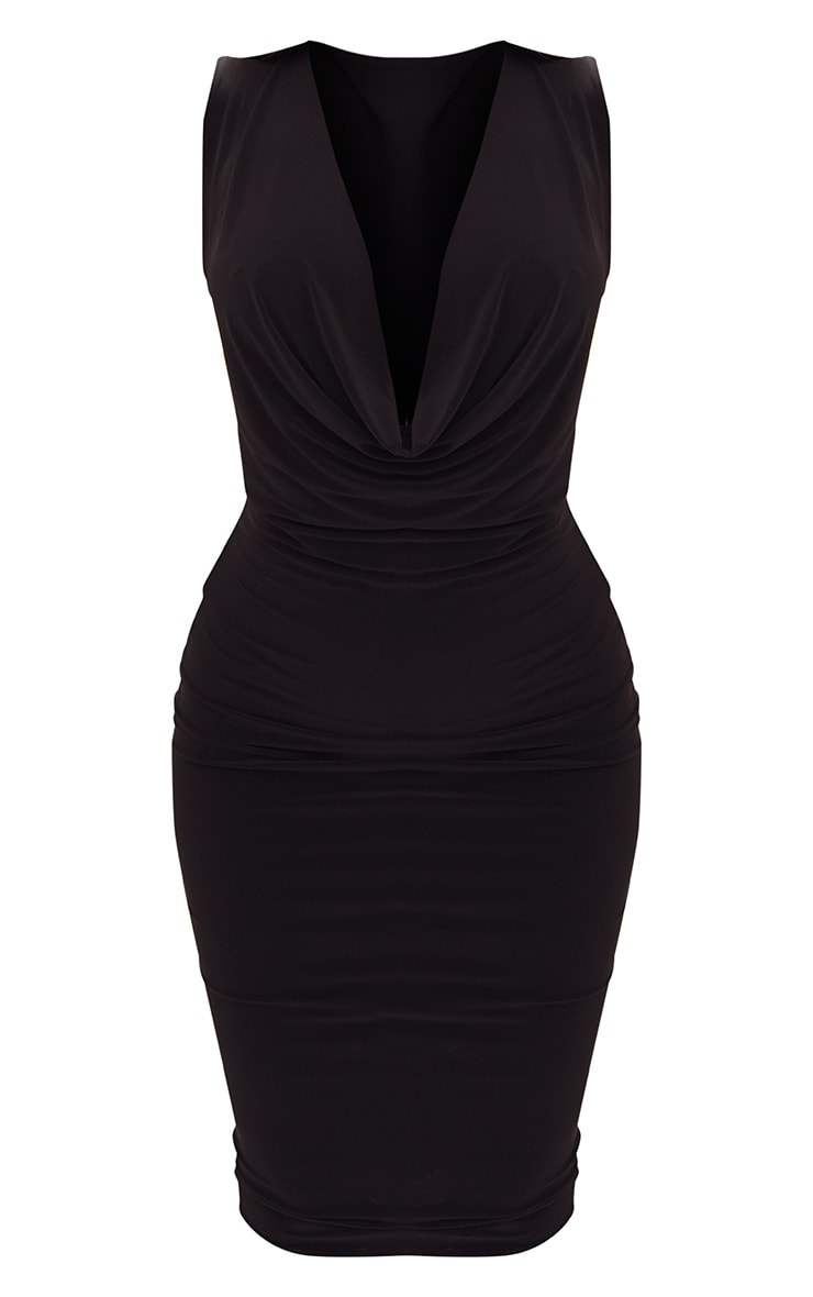 Black Slinky Cowl Neck Midi Dress 3