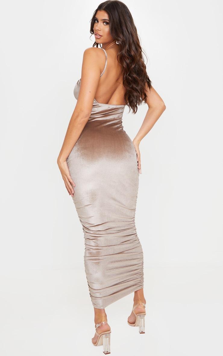 Mocha Velvet Strappy Ruched Midi Dress 2