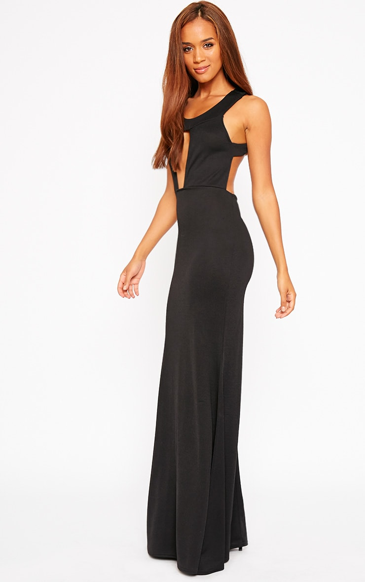 Brandy Black Plunge Maxi Dress 1