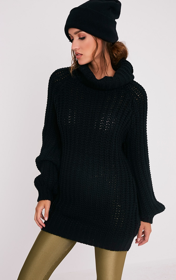 a6640a79c9e Shainel Black Roll Neck Chunky Knit Jumper