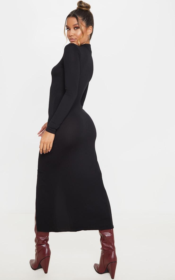 Black Long Sleeve High Neck Split Front Midi Dress 2