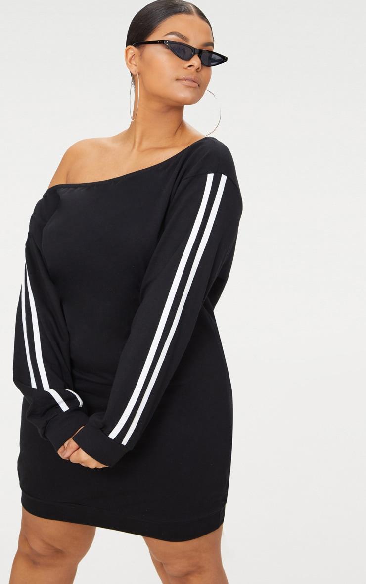 Plus Black Off The Shoulder Sweater Dress 1