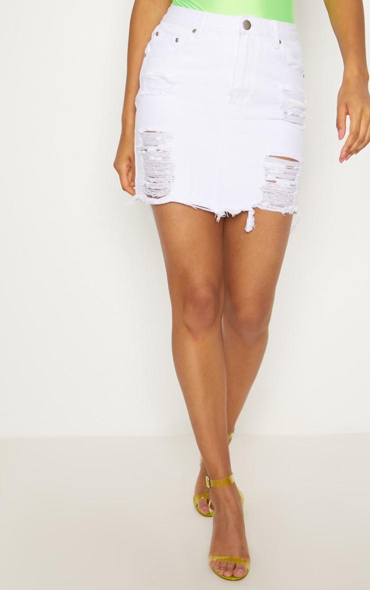White Heavy Distressed Denim Mini Skirt 2