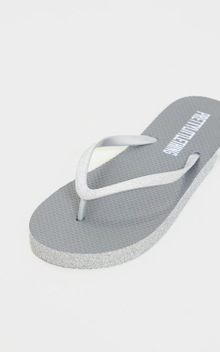Silver Glitter Flip Flops 4