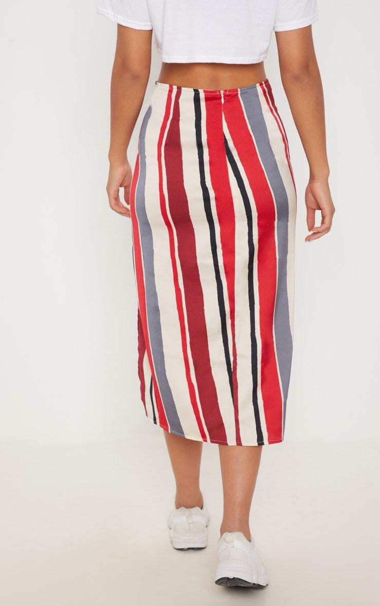 Red Satin Stripe Midi Skirt 4
