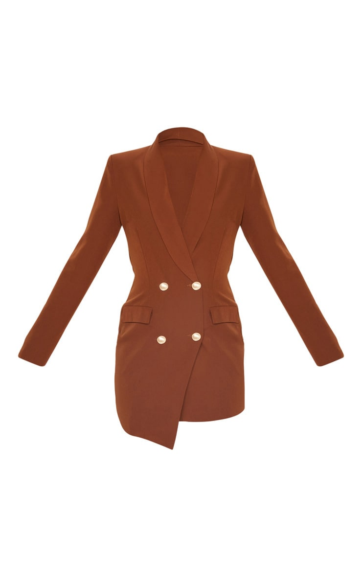 Robe blazer marron chocolat à boutons dorés 3