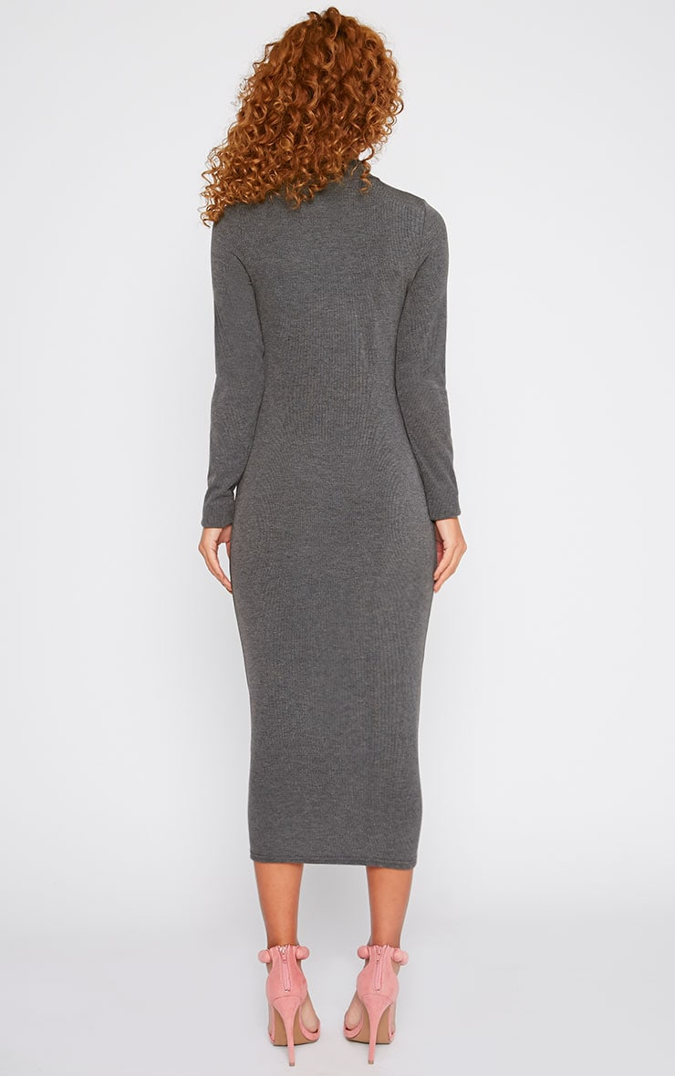 Basic Charcoal Ribbed Turtle Neck Midi Dress 2