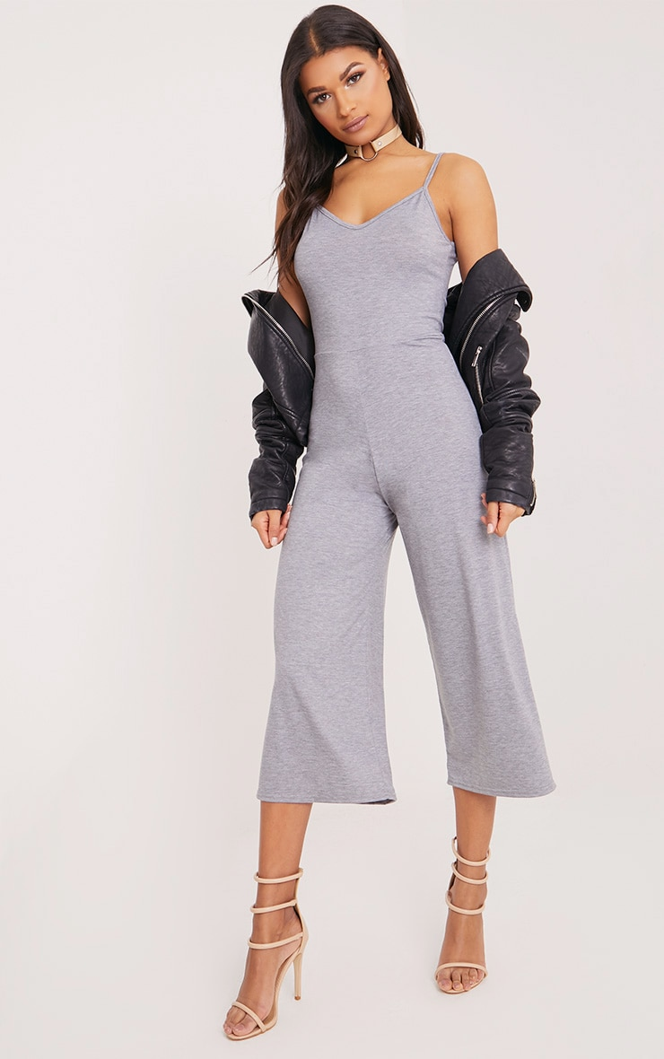 Kailyn Grey Jersey Culotte Jumpsuit 1