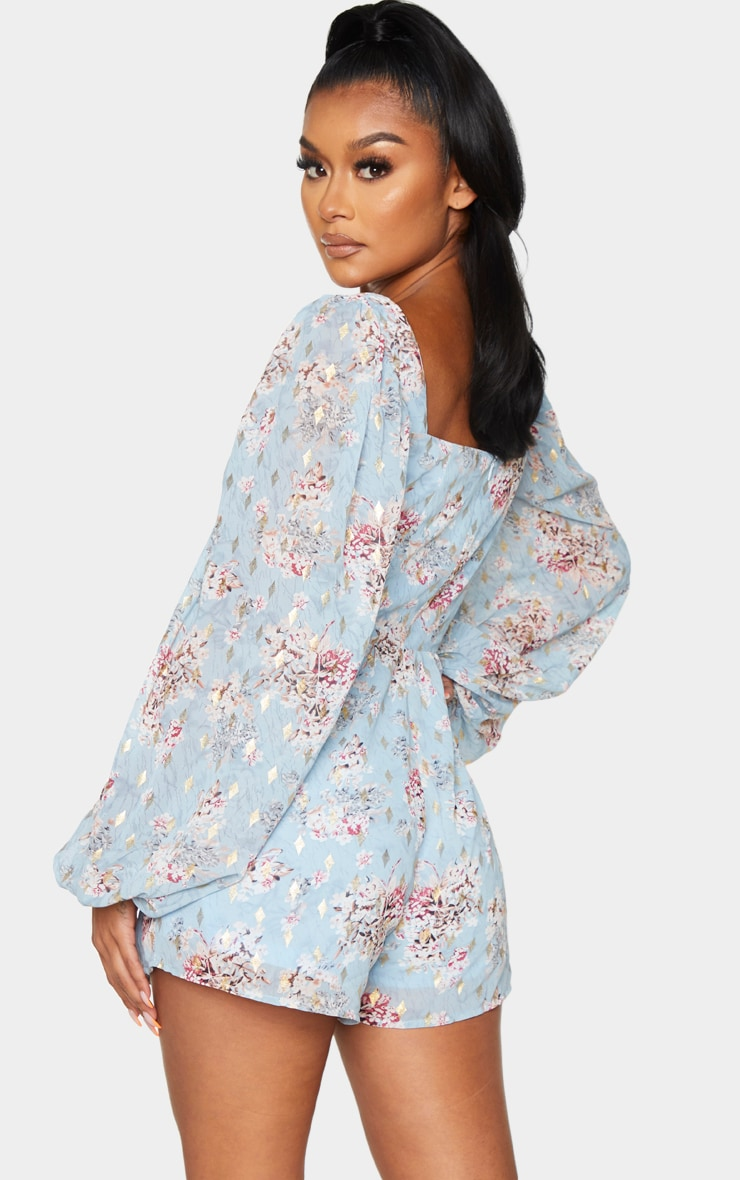 Dusty Blue Floral Floaty Plunge Chiffon Playsuit 2
