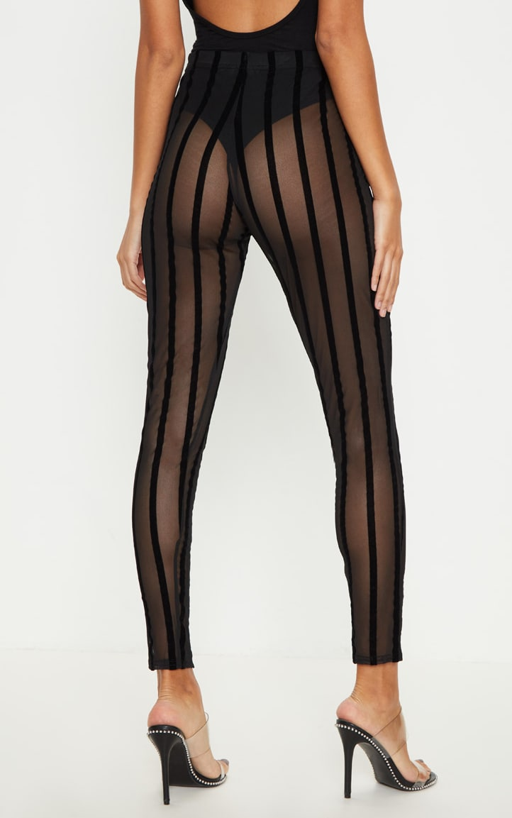 Black Mesh Stripe Legging 5