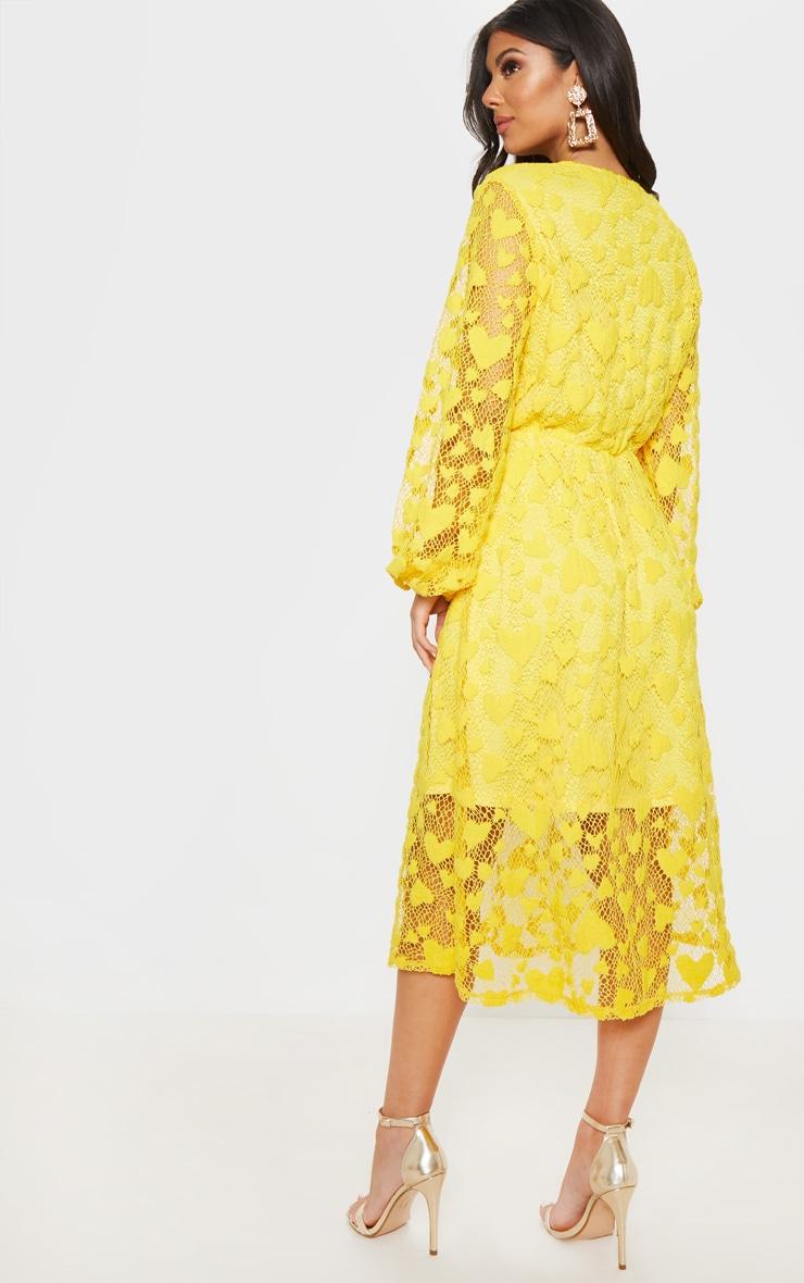 Bright Yellow Heart Pattern Net Midi Dress 2