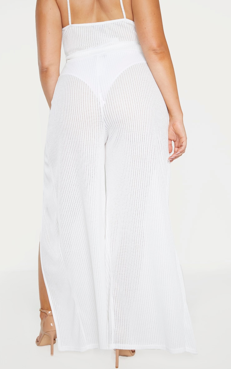 Plus White Textured Split Detail Wide Leg Pant 4