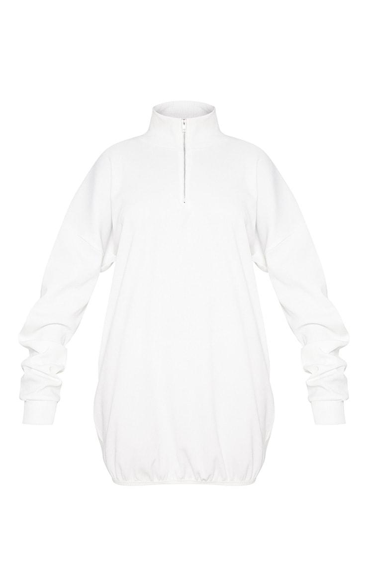 Cream Rib Zip Front Elasticated Hem Jumper Dress 3
