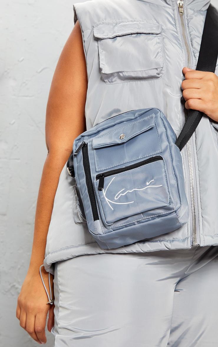 KARL KANI Ice Grey Zip Pocket Detail Shoulder Bag 2