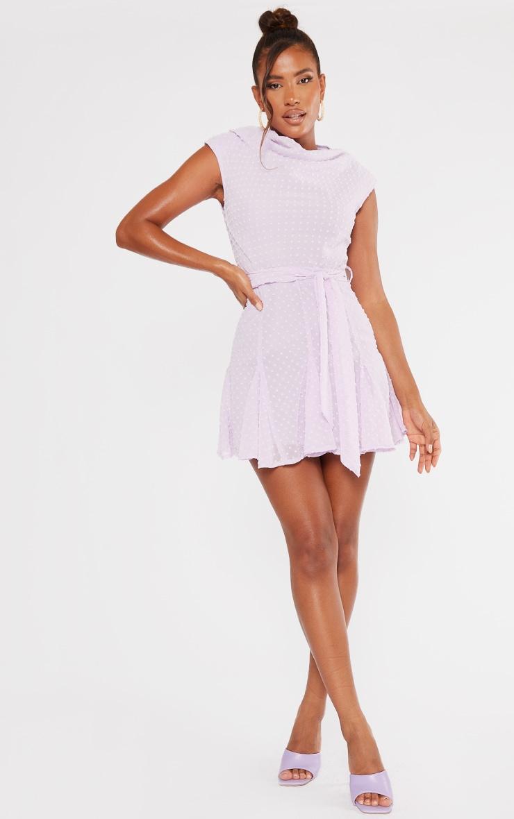 Lilac Dobby Chiffon Cowl Neck Skater Dress 3