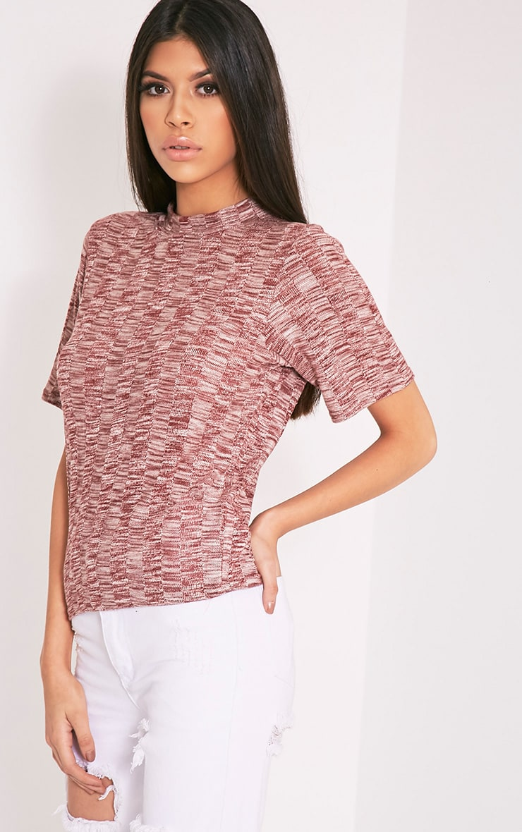 Laylae Red Fine Knit Short Sleeve Top 7