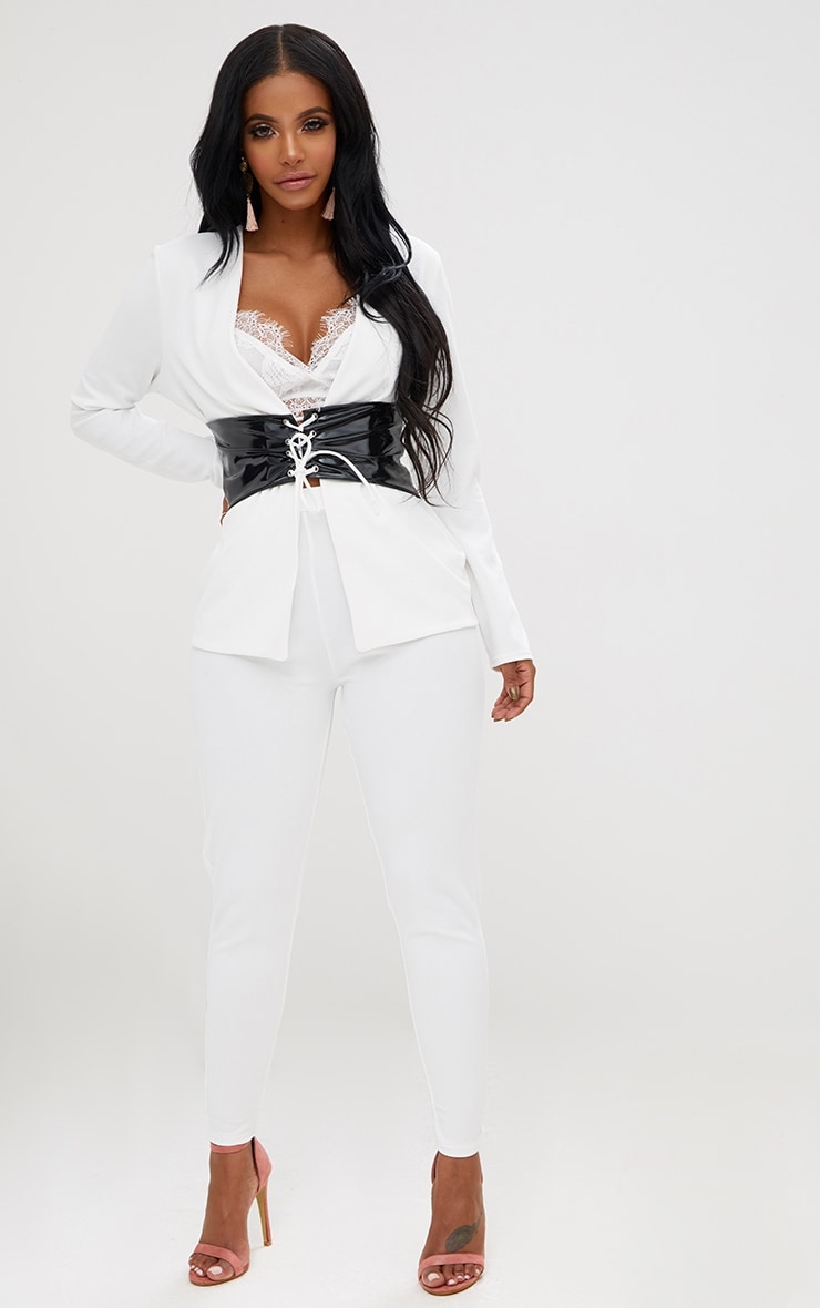 Shape White Fitted Trouser 1
