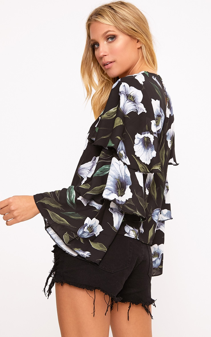 Lexia Black Frill Longsleeve Floral Printed Blouse  2
