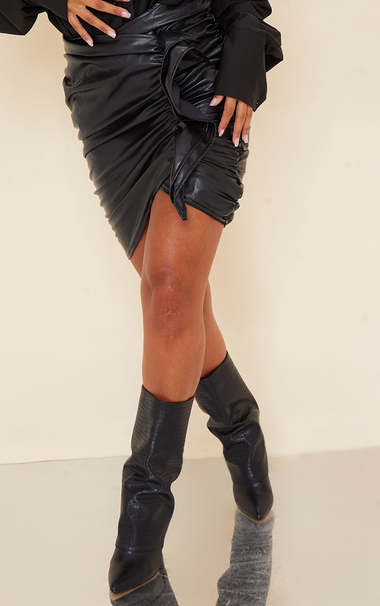 Black Detailed Faux Leather Ruched Mini Skirt 2