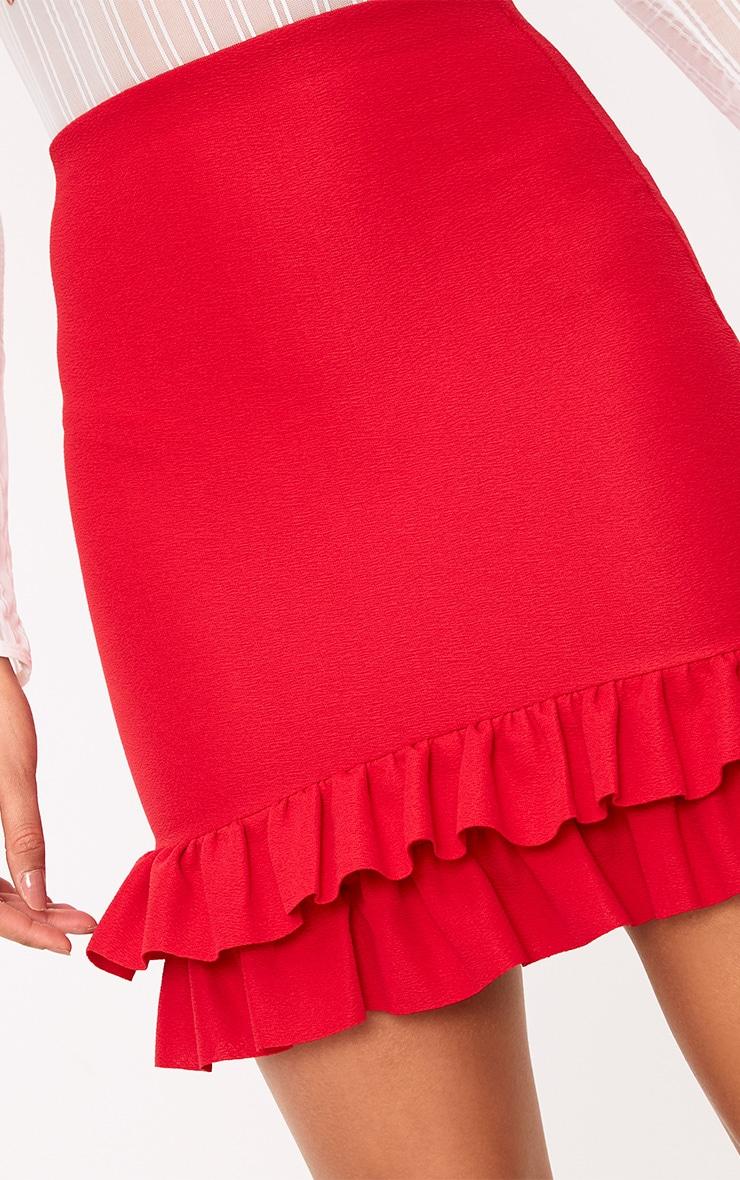 Rhya Red Double Frill  Hem Mini Skirt  6