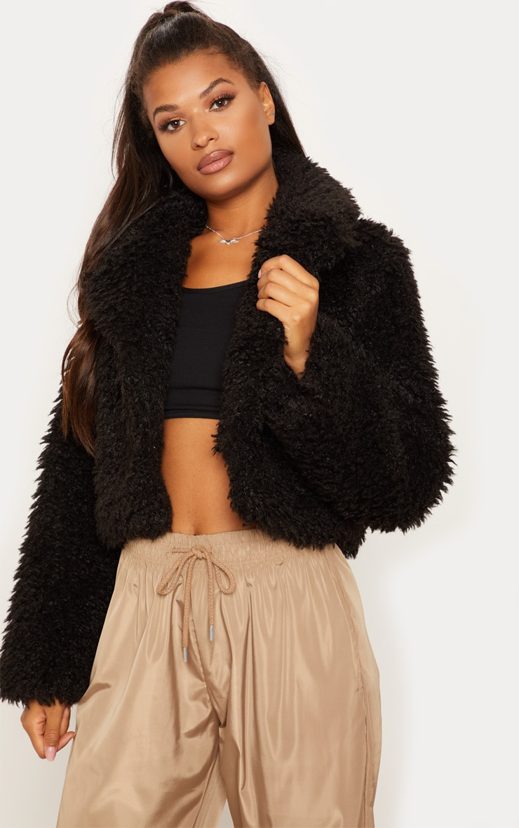 Black Teddy Faux Fur Cropped Jacket  1