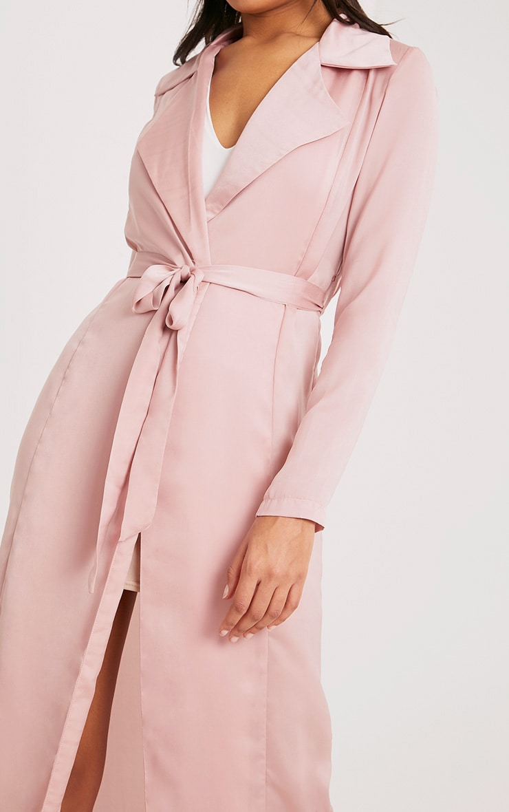 Briley Nude Satin Waterfall Duster Jacket 5