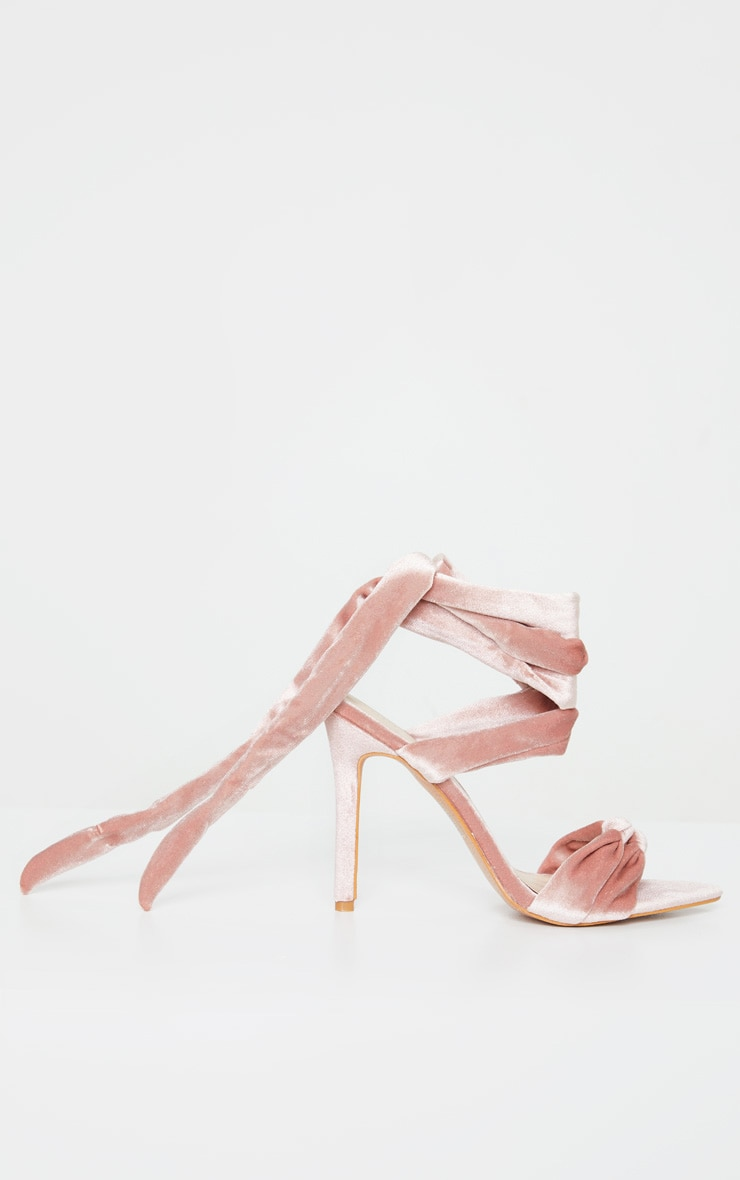 Blush Knot Tie Ankle Strappy Point Toe Heeled Sandal 3