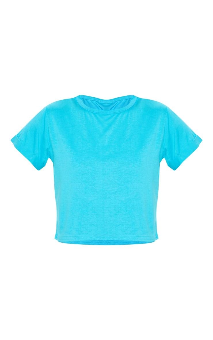 Basic Bright Blue Roll Sleeve T Shirt 3