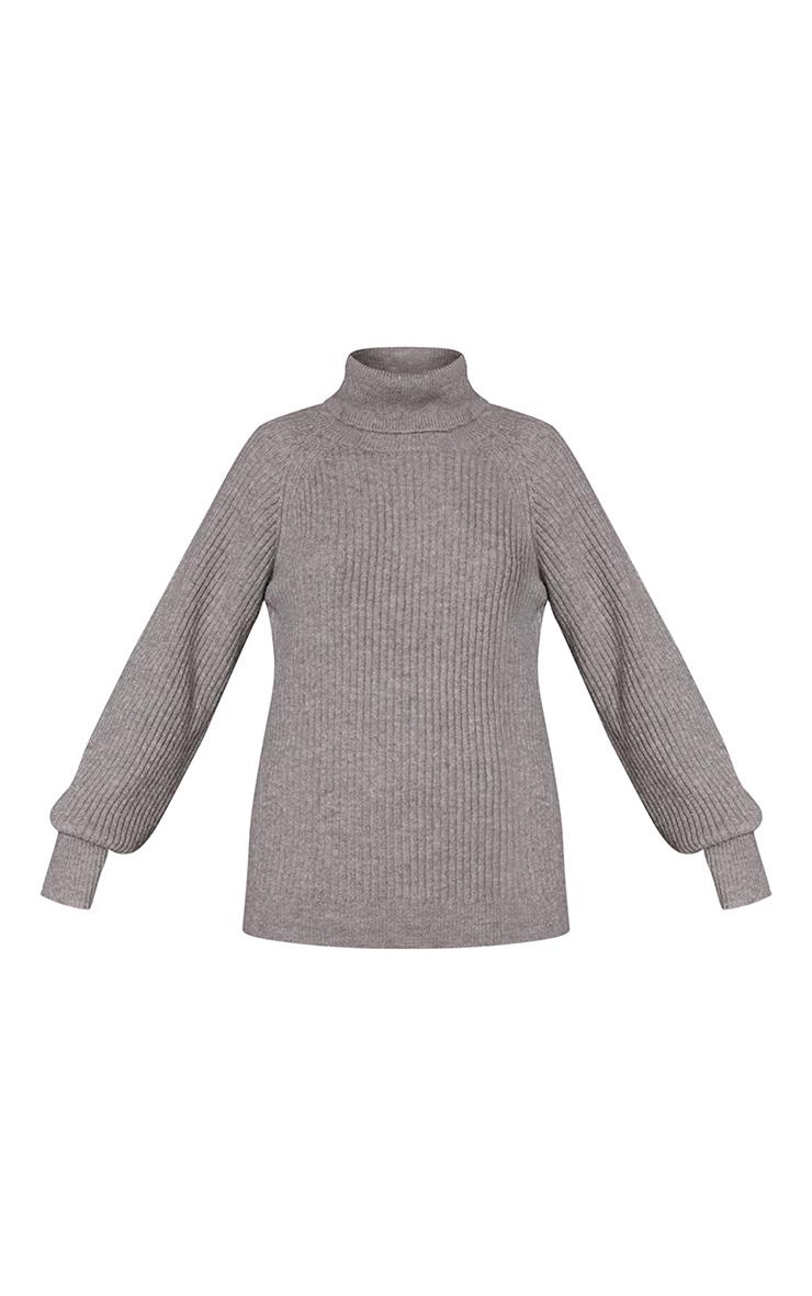 Khaki Recycled Roll Neck Oversized Longline Sweater 5