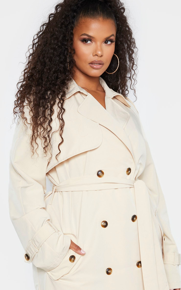 Plus Stone Oversized Button Down Trench Coat 5