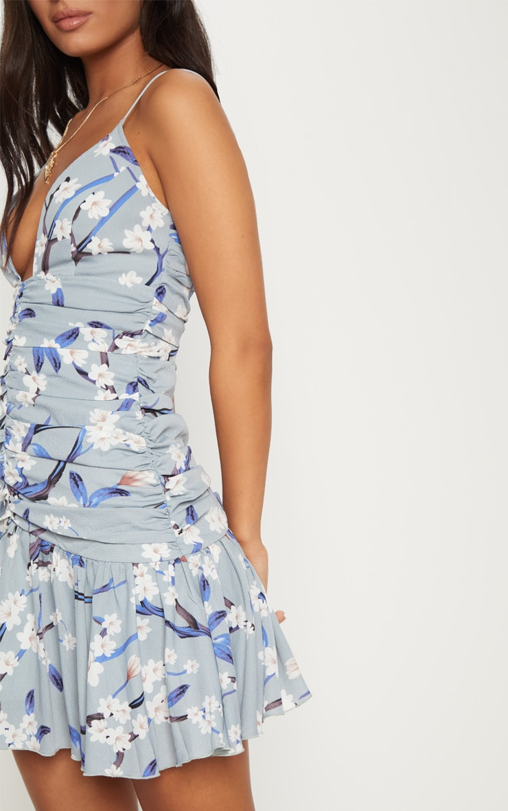 Dusty Blue Floral Print Ruched Detail Frill Hem Bodycon Dress 5