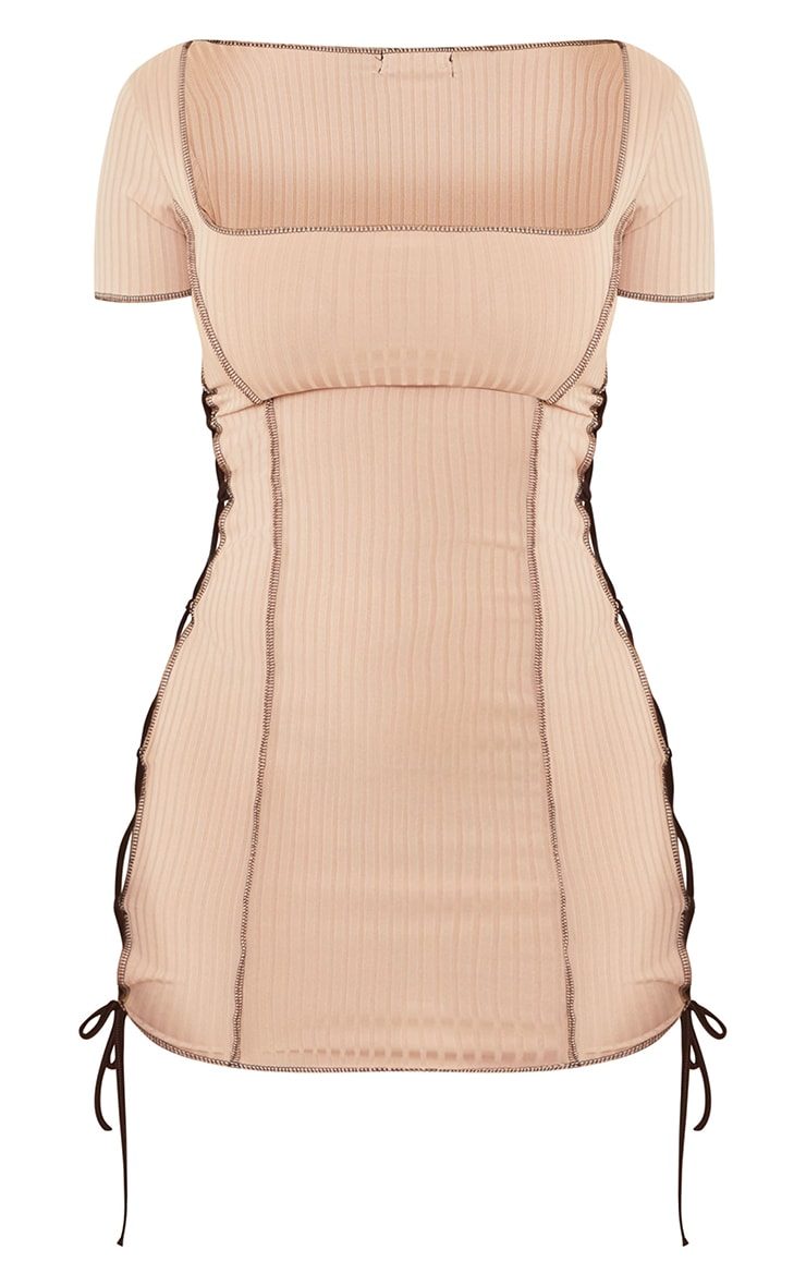 Shape Nude Rib Square Neck Lace Up Side Bodycon Dress 5