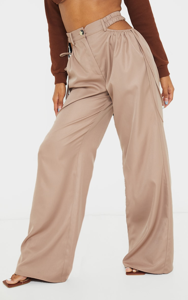 Taupe Woven Cut Out Tie Detail Wide Leg Trousers 2